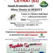Horaires de départ  - Montée de Berzet - 30 septembre 2017
